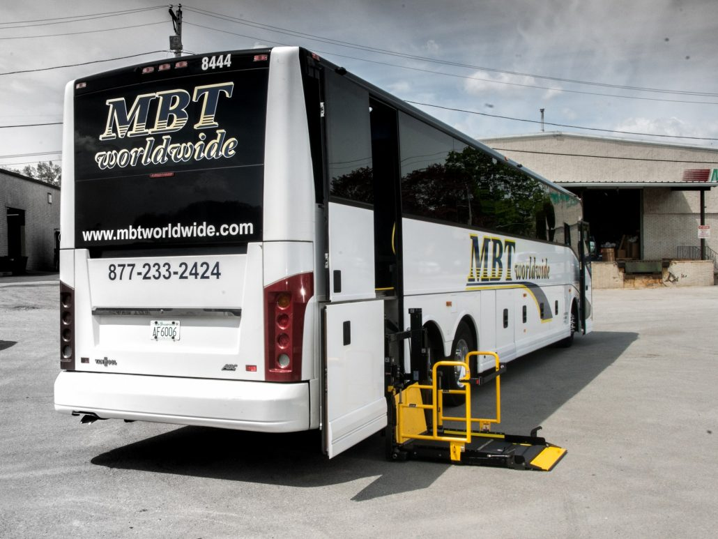 MBT Worldwide a Boston MA based bus & ground transportation company - Wheelchair Lift 56 Passenger